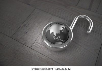 A combination lock is unlocked with the Earth as its focus, specifically China, indicating access to trade, on a wooden table as 3d rendering.
