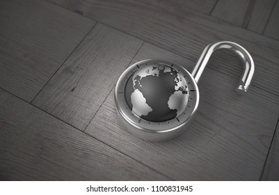 A combination lock is unlocked with the Earth as its focus, indicating security, on a wooden table as 3d rendering.
