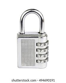 Combination padlock isolated on white background.