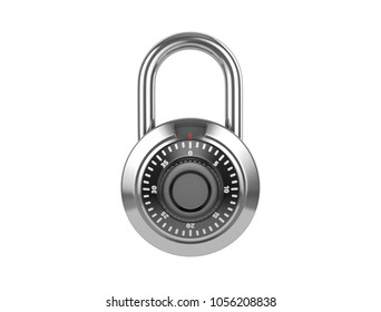 Combination padlock on a white backround. 3D illustration