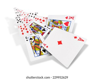 The combination of playing cards poker casino. Isolated on white background