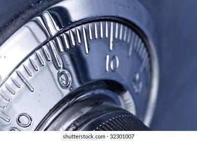 combination safe lock closeup