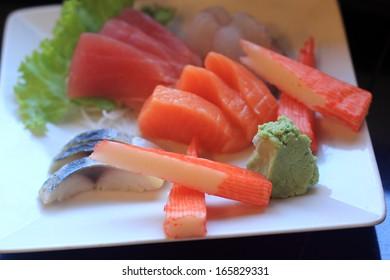 combination of salmon, tuna, and albacore sashimi