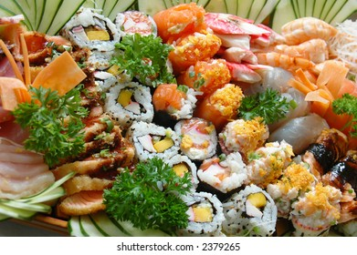 Combination of sushi - Japonese food .