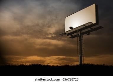 Combination of vector and raster images to create a sunset view of a blank billboard for placement of advertising material.