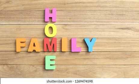 Combination Word Between ' HOME and ' FAMILY ' Colorful Word on Wooden Table 2