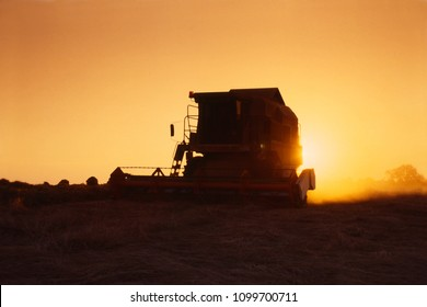 Combine in Action at sunset