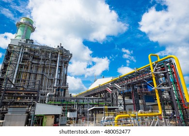 Combine cycle power plant against blue sky