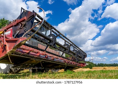 Combine harvester close up view from below