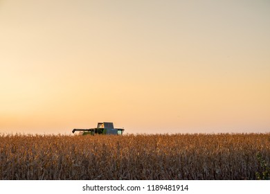 Combine harvester machine in corn field at sunset. Multi purpose thresher tracktor gathering crop in beautiful sunlit area