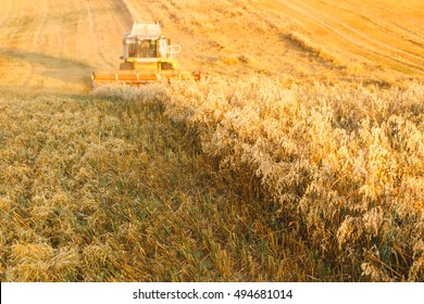 combine harvester working on an oat field