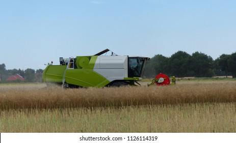 Combine harvester, working on a rape field in the district of Hannover, Germany