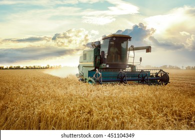 combine harvester working on a wheat field. On the Sunset