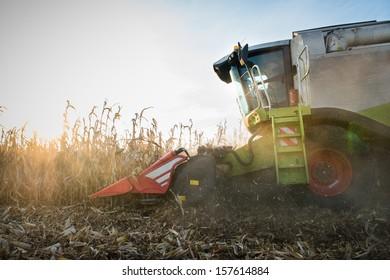 Combine harvesting crop corn grain fields