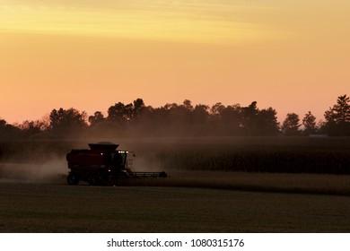 Combine harvesting wheat in setting sun