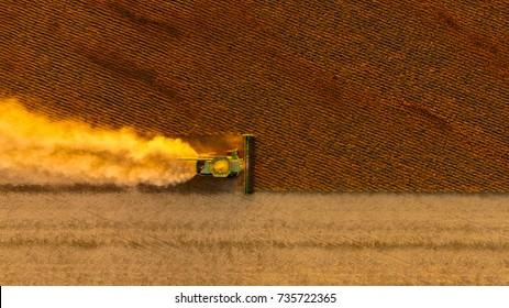 Combine Soybean Harvest in North Dakota