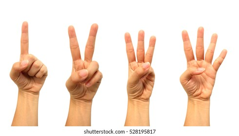 Combine woman hand show one two three and four fingers on white background