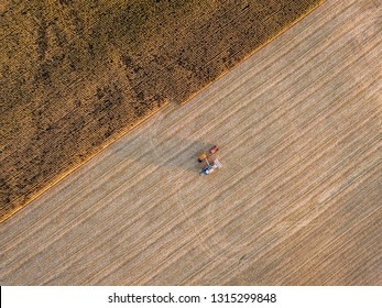 Combine working on maize field. Aerial top down view landscape with field.