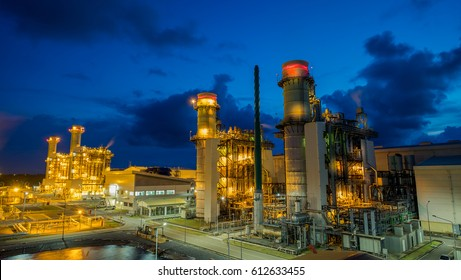 Combined cycle power plant with reflection shot and twilight sky