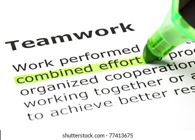 Combined effort highlighted in green, under the heading Teamwork.