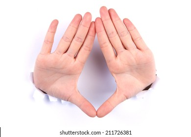The combined hands, are forming a triangle  from hole
