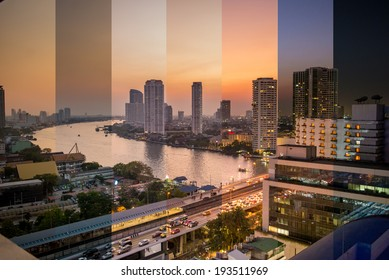 Combined image showing light change during sunset in Bangkok