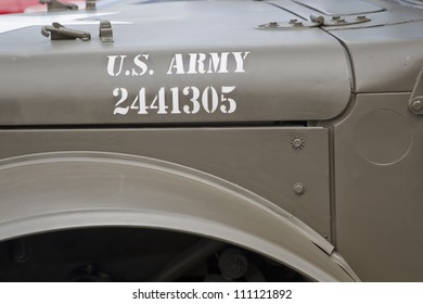 COMBINED LOCKS, WI - AUGUST 18: Hood lettering on vintage US Army Truck at the 2nd Annual Horizon of Hope Generations Car and Truck Show on August 18, 2012 in Combined Locks, Wisconsin.
