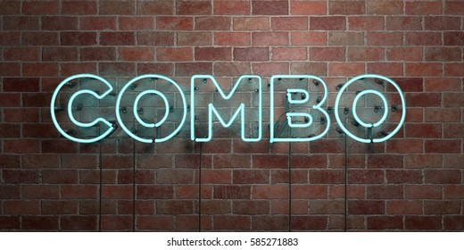 COMBO - fluorescent Neon tube Sign on brickwork - Front view - 3D rendered royalty free stock picture. Can be used for online banner ads and direct mailers.