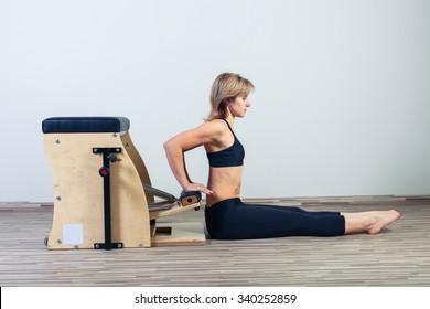 combo wunda pilates chair woman fitness yoga gym exercise.