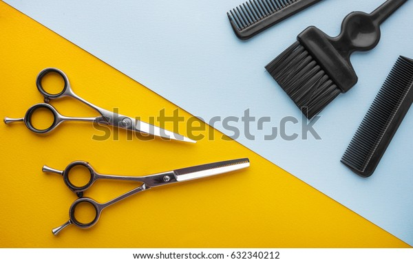combs and hairdresser tools top view