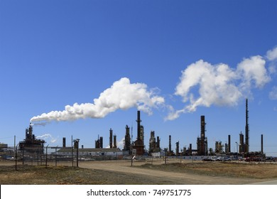 Come By Chance, NEWFOUNDLAND AND LABRADOR, CANADA - MAY 14, 2017.  North Atlantic Petroleum oil refinery producing gasoline from heavy crude, taken on May 14, 2017 in Come By Chance.