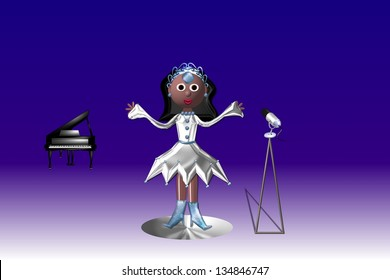 Come on sing along, is a female singer against a purple and blue background.
