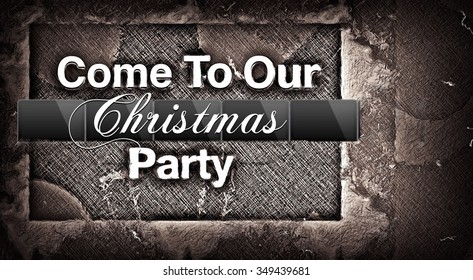 Come To Our Christmas Party invitation illustration card