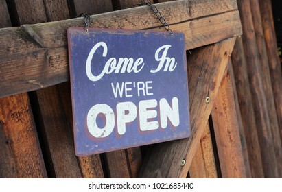 Come in we are open sign. Dresden, Germany