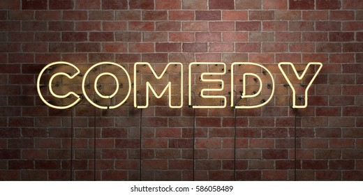 COMEDY - fluorescent Neon tube Sign on brickwork - Front view - 3D rendered royalty free stock picture. Can be used for online banner ads and direct mailers.
