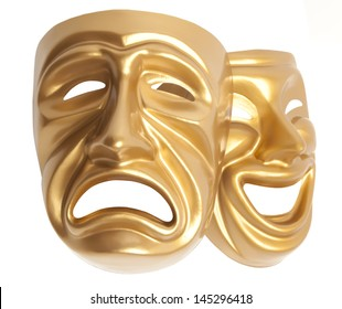 Comedy  and  Tragedy theatrical mask isolated on a white background