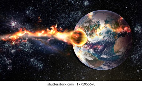 Comet, asteroid, meteorite glows, attacks, enters falls attacks the earth's atmosphere. End of the world. Collision of asteroid with the planet Earth. Elements of this image furnished by NASA.