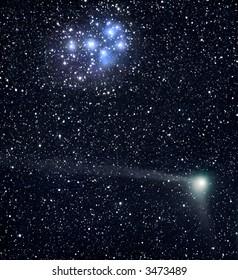 Comet C/2004 Q2 crosses the Pleiads