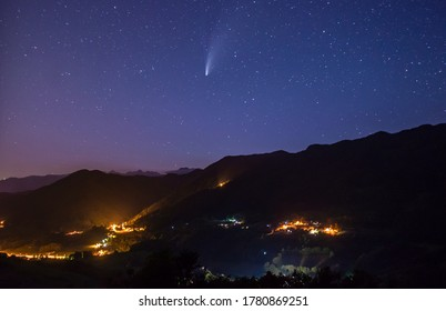 Comet Neowise, seen from Tuhinj valley, Slovenia
