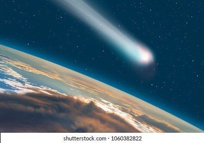 """Comet on the space""""Elements of this image furnished by NASA """""""