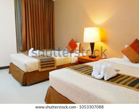 Comfort Bedroom Luxury Style Twin Bed Stock Photo (Edit Now ... 7c6b0a0d0