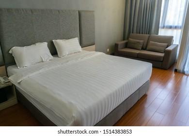Comfort bedroom in modern hotel