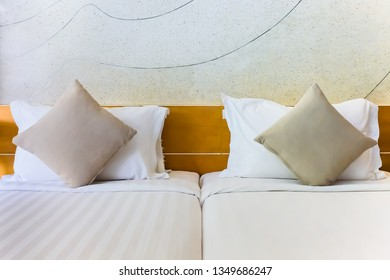 Comfort pillow on bed decoration interior of hotel bedroom
