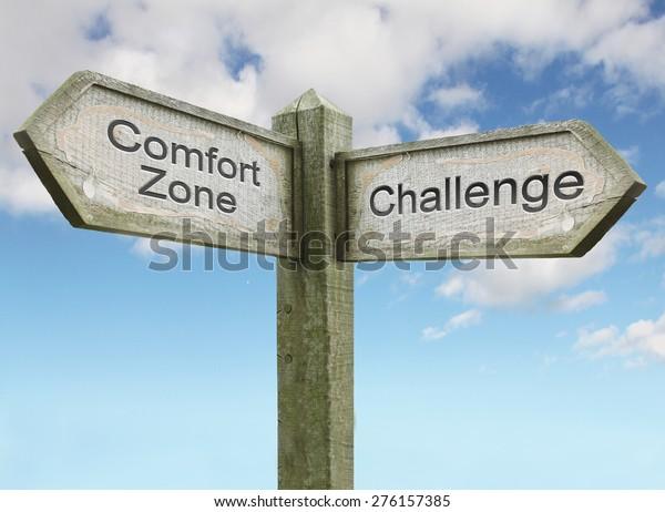 Concepto de signo de zona de confort/desafío