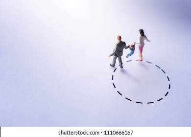 Comfort Zone for Kids Concept. present by Miniature Figure Happy Family Walking outside a Bound. Parent Supporting their Child to make a Different