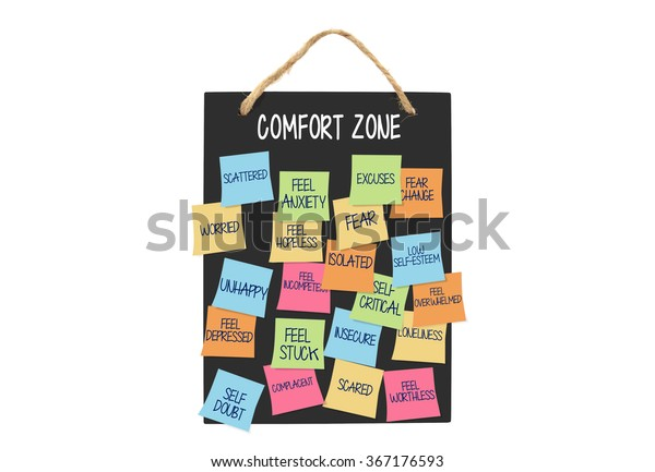 Comfort Zone Post Notes Fear Stuck Stock Photo (Edit Now