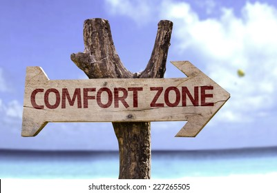 Comfort Zone wooden sign with a beach on background