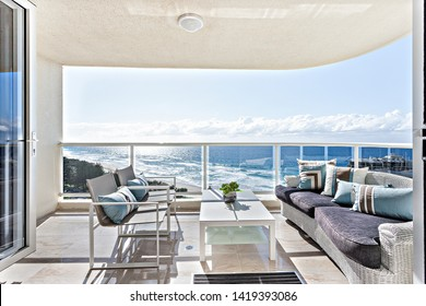 Comfortable balcony seating and a breathtaking sea view