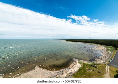 comfortable beach of the baltic sea with rocks and green vegetation in summer. aerial view.