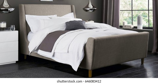 Comfortable bedroom with nice decoration. Modern bedroom interior